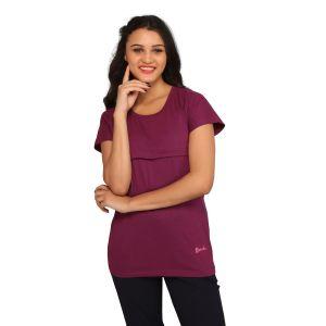 De'Moda Women's Maroon Round Neck T-shirt (Code - DM5026-1-DM)