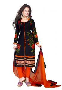 Salwar Studio Women's Clothing - Salwar Studio Women's Black & Orange Synthetic Floral,polka Dots Printed Dress Material With Dupatta(product Code -monsoon-1589)