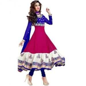 Anarkali Suits - Rasvilla Pink And Blue Designer Anarkali Suit