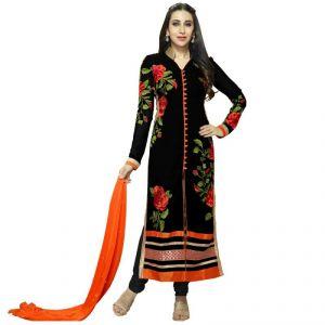 Style Mania Dress Materials (Singles) - Style Mania Unique Black Color Georgette Straight Salwar Kameez Smdmdv1_10005