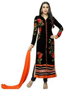 Parisha Dress Materials (Singles) - Parisha Black Embroidered Un Stitched Straight Suit Dva10005