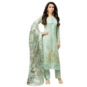 Women's Clothing - MF Retail Faux Georgette Embroidered Semi Stitched Dress Material Salwar Suit (Product Code - MF_10111)
