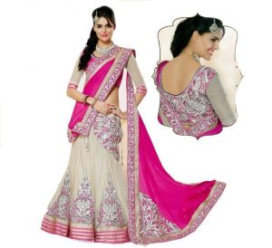 New Attrective Pink And White Embroidered Designer Lehnga Choli