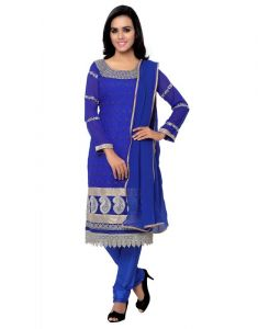 Surat Tex Dress Materials (Singles) - Surat Tex Blue Party Embroidered Georgette Semi-stitched Salwar Suit-g940dl132ao