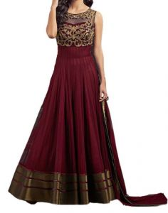Dress Materials (Singles) - Brown Net Designer Embroidered Anarkali Un-stitched Suit De228