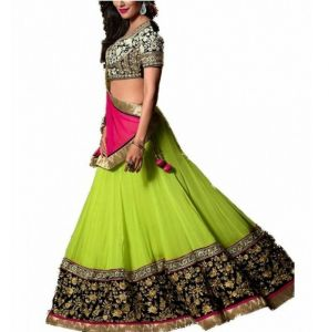 Aagaman Divine Green Colored Embroidered Faux Georgette Lehenga Choli