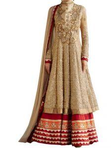 Anarkali Suits (Unstitched) - Women's Gold Georgette Raw Silk Anarkali Dress Salwar Suit Ufs1036