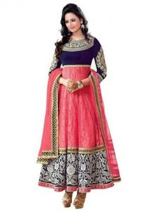 Women's Clothing - Oswal International Pink & Blue Semi-stitched Velvet & Net Party Wear Salwar Suit