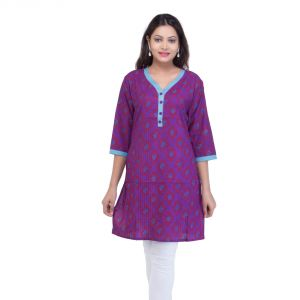 Mystique India Purple Half Sleeve Round Neck Cotton Kurti For Women