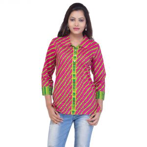Mystique India Pink Full Sleeve Round Neck Fusion Cotton Kurti For Women