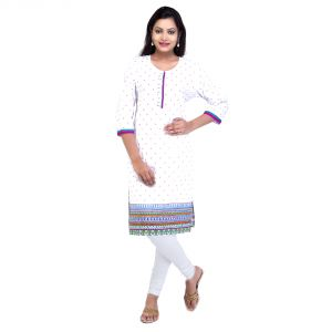 Mystique India White 3/4 Sleeve Round Neck Cotton Kurti For Girls