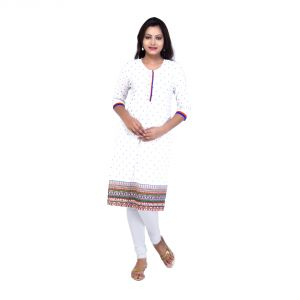 Mystique India White 3/4 Sleeve Round Neck Cotton Kurti For Women