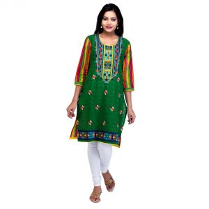 Mystique India Green 3/4 Sleeve Round Neck Cotton Kurti For Girls