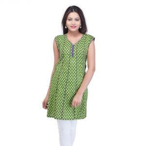 Mystique India Green Sleeveless V-neck Designer Cotton Kurti For Women