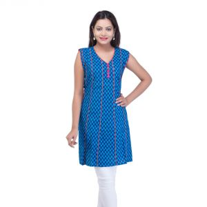 Mystique India Blue Sleeveless V-neck Designer Cotton Kurti For Women