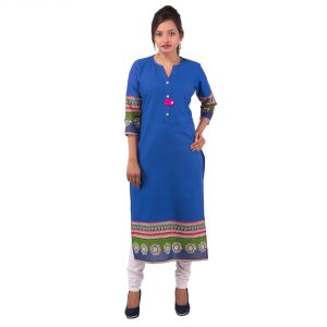 Mystique India Blue 3/4 Sleeve Round Neck Cotton Kurti For Girls