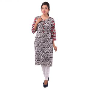 Mystique India Multicolor 3/4 Sleeve Round Neck Cotton Kurti For Women