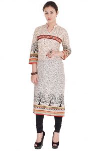 Mystique India Black Floral Print Cotton Women Kurti - Mib652b
