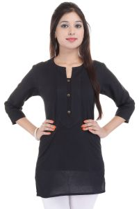 Mystique India Black 3/4 Sleeve Round Neck Cotton Short Kurti For Women