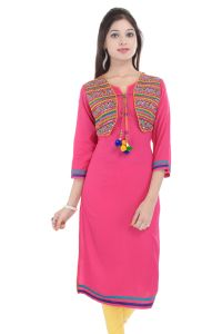 Mystique India Pink 3/4 Sleeve Round Neck Rayon Long Kurti For Women