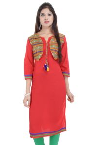 Mystique India Red 3/4 Sleeve Round Neck Rayon Long Kurti For Women