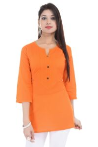 Mystique India Orange 3/4 Sleeve Round Neck Cotton Short Kurti For Women