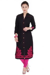 Mystique India Pink Embroidered Cotton Women Kurti - Mip619a