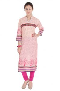 Mystique India Pink Floral Print Cotton Women Kurti - Mip652a