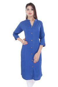Mystique India Blue 3/4 Sleeve Chinese Collar Khadi Long Kurti For Women