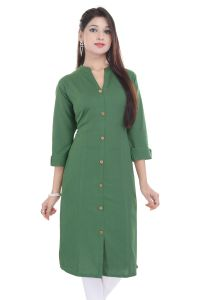 Mystique India Green 3/4 Sleeve Chinese Collar Khadi Long Kurti For Women