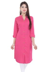 Mystique India Pink 3/4 Sleeve Chinese Collar Khadi Long Kurti For Women