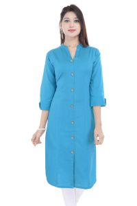 Mystique India Blue 3/4 Sleeve Chinese Collar Long Khadi Kurti For Women