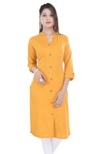 Mystique India Yellow 3/4 Sleeve Chinese Collar Khadi Long Kurti For Women