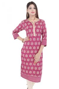 Mystique India Pink 3/4 Sleeve Round Neck Cotton Long Kurti For Women