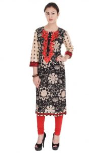Mystique India Black, Beige And Red Embroidered Cotton Women Kurti - Mir648b