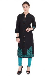Mystique India Rama Green Embroidered Cotton Women Kurti - Mira619b