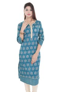Mystique India Green 3/4 Sleeve Round Neck Cotton Long Kurti For Women