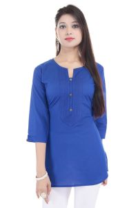 Mystique India Blue 3/4 Sleeve Round Neck Cotton Short Kurti For Women