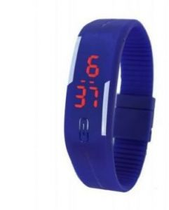 Women's Watches   Rectangular Dial   Digital - Silicone Blue New Digital LED Band Watch Woman
