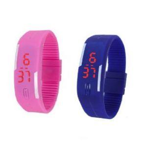 Silicon strap - Blue Pink Led Digital watch men women boys kids