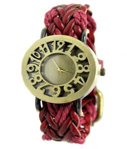 New Red Strap Analog Bracelet Watch For Women Girls