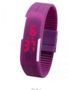 Women's Watches   Rectangular Dial   Digital   Other - Jelly Slim  Women Purple LED Digital Casual Bracelet watch