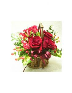 Gifts Valley 12 Red Roses Basket Gift Items