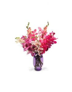 Gifts Valley 18 White And Pink Orchids In A Glass Vase Gift Items