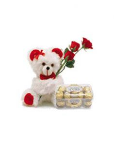Gifts Valley Teddy With 3 Roses And 16 Ferrero Rocher Chocolates Gift Items