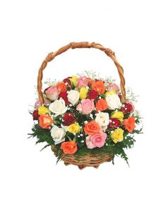 Gifts Valley Mixed 20 Roses Basket Gift Items