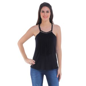 Tops & Tunics - Meish Black Solid Top for Women - ME117BLK