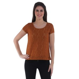 Meish Dark Brown Solid Top For Women - Me125dbrn