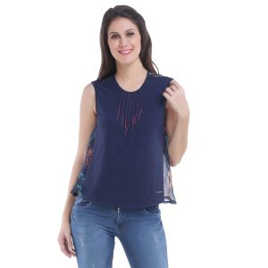 Meish Navy Blue Solid Top For Women - Me126nvy