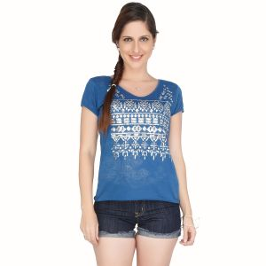Meish Navy Blue Printed Cotton Blend Top For Women - Me33nblu